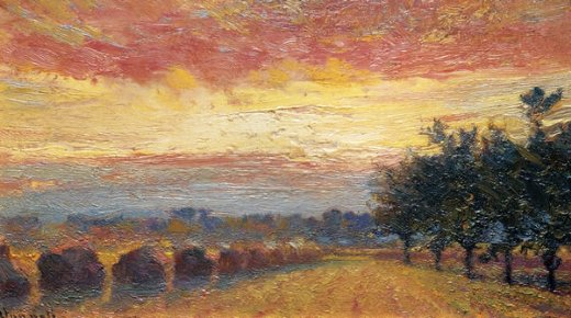 robert vonnoh haystacks under a rainy sky painting