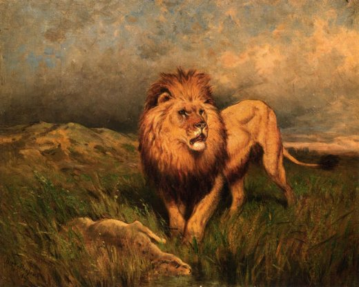 rosa bonheur lion and prey paintings