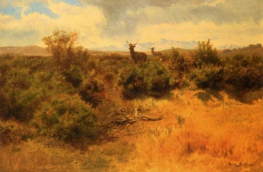 rosa bonheur stag and doe in a landscape paintings