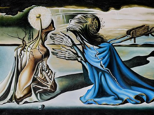 salvador dali design for the set of the ballet tristan and isolde painting