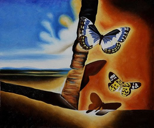 salvador dali landscape with butterflies ii painting