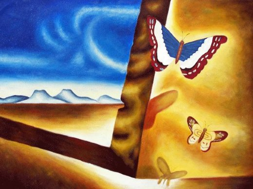 salvador dali landscape with butterflies paintings