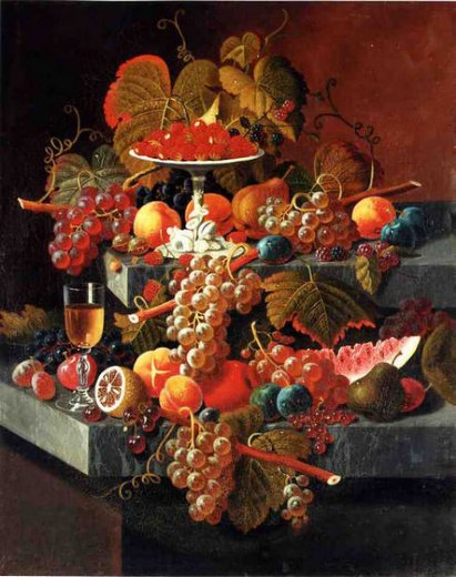 severin roesen fruit composition with tazza of strawberries painting