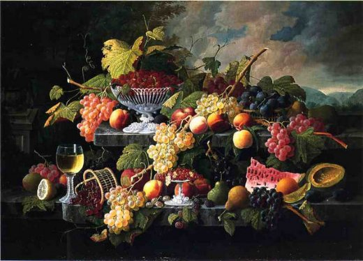 severin roesen fruit still life with wine glass in a landscape painting