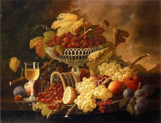 severin roesen still life with fruit and wine glass ii painting