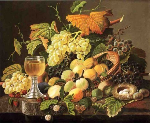 severin roesen still life with fruit bird s nest and wine glass painting