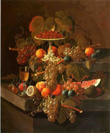 severin roesen still life with grapes and fruit painting