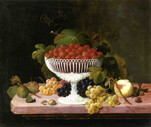 severin roesen strawberries and porcelain painting