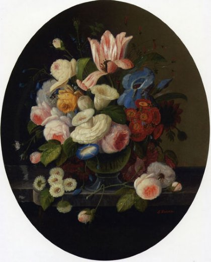 severin roesen vase of flowers painting