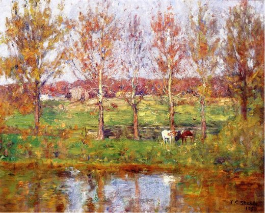 theodore clement steele cows by the stream painting