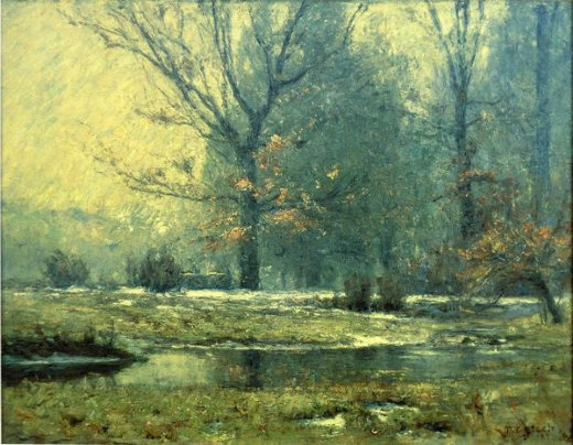 theodore clement steele creek in winter painting