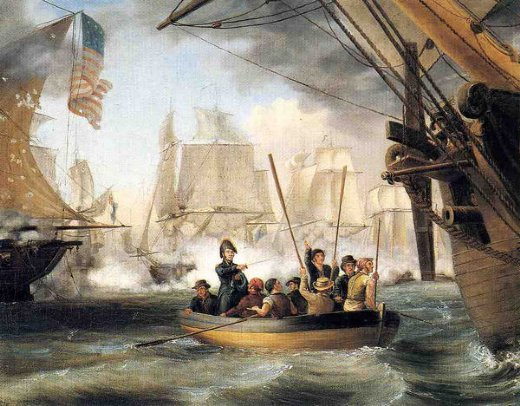 thomas birch commodore perry leaving the lawrence for the niagara at the battle of lake erie paintings