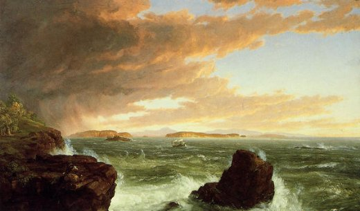 thomas cole view across frenchman s bay from mount desert island after a squall painting