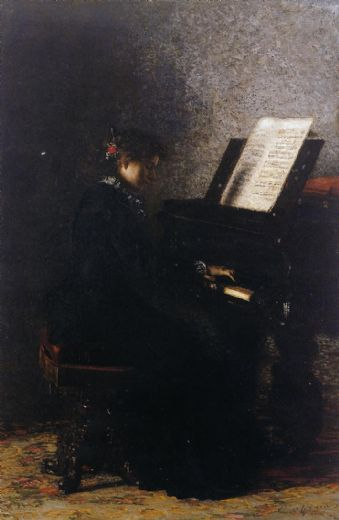 thomas eakins elizabeth at the piano painting