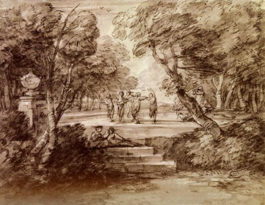 thomas gainsborough dancers with musicians in a woodland glade paintings