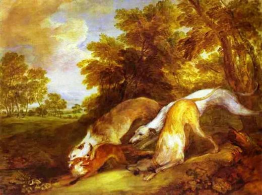 thomas gainsborough dogs chasing a fox painting