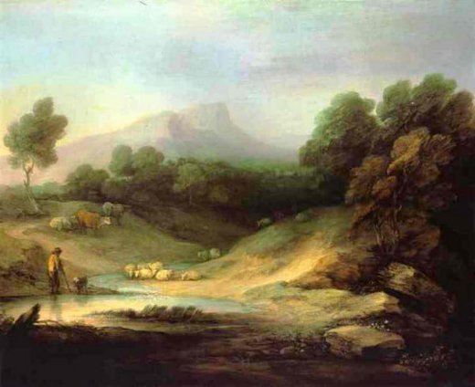 thomas gainsborough mountain landscape with shepherd paintings
