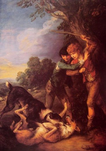 thomas gainsborough shepherd boys with dogs fighting paintings