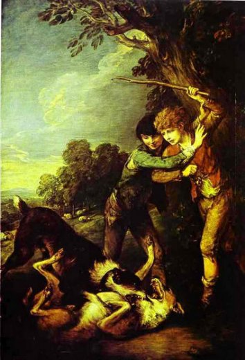 thomas gainsborough two shepherd boys with dogs fighting paintings