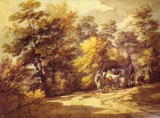 thomas gainsborough wooded landscape with a waggon in the shade paintings