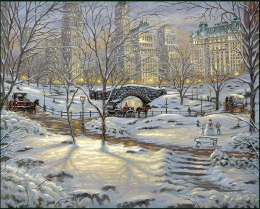 thomas kinkade a winter s eve painting