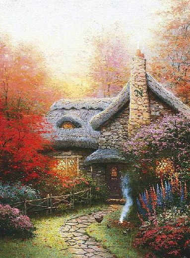 thomas kinkade autumn at ashley s cottage paintings