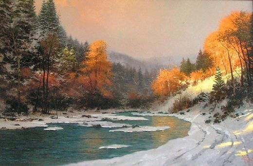 thomas kinkade autumn snow paintings