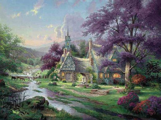 thomas kinkade clocktower cottage paintings