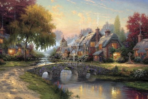thomas kinkade cobblestone bridge painting
