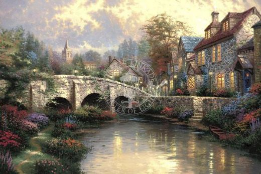 thomas kinkade cobblestone brooke paintings