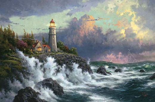 thomas kinkade conquering the storms paintings
