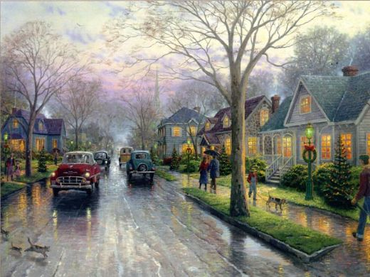 thomas kinkade hometown christmas painting