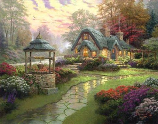 thomas kinkade make a wish cottage painting