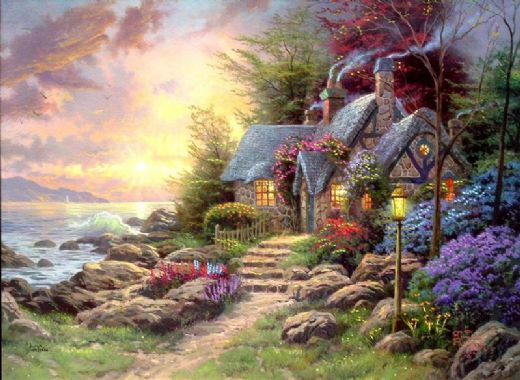 thomas kinkade seaside hideaway paintings