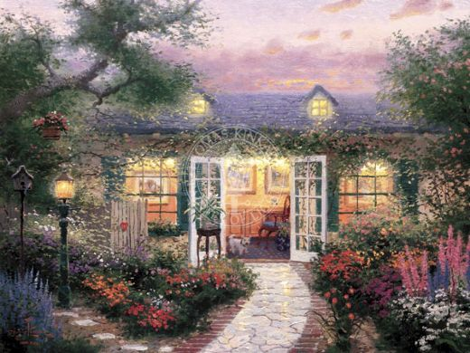 thomas kinkade studio in the garden paintings