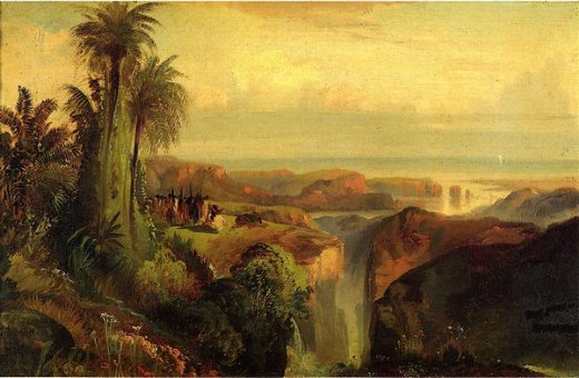 thomas moran indians on a cliff painting
