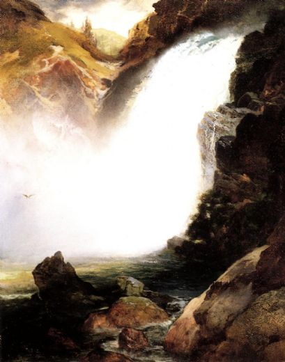 thomas moran landscape with waterfall posters