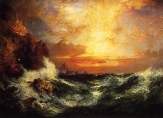 thomas moran sunset near land s end cornwall england paintings