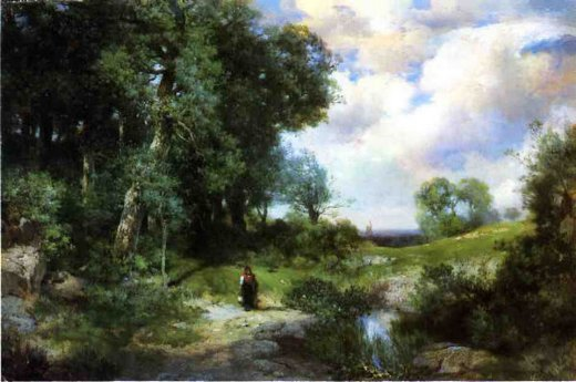 thomas moran young girl in a long island landscape painting