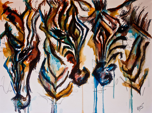 unknown artist african abstract art 3 paintings