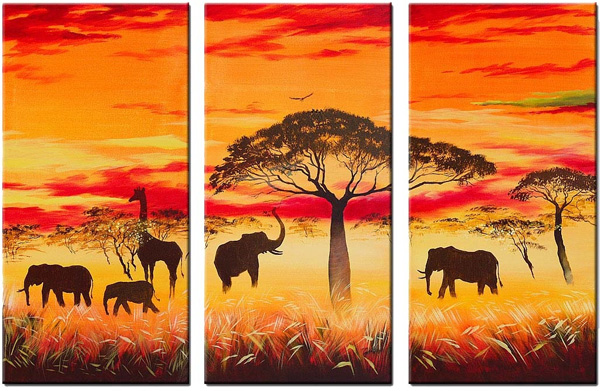 unknown artist african animals group art 1 paintings