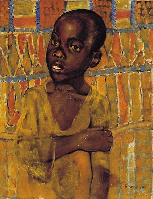 african boy painting
