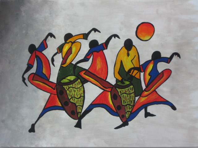 african dancers 2 painting