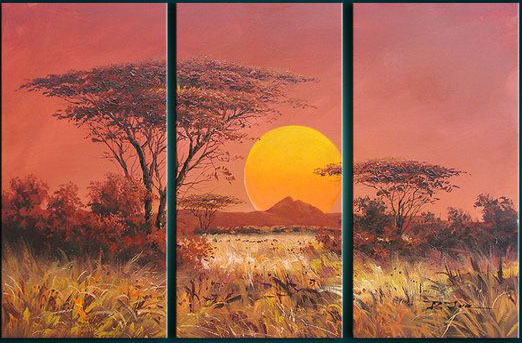 unknown artist african sunset group art 1 paintings
