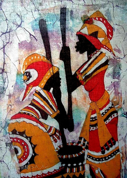 african vintage tribal painting