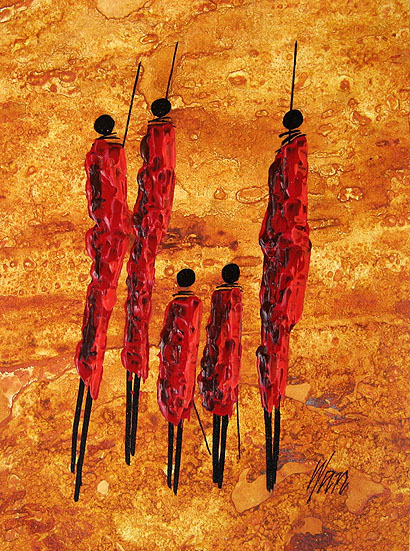 unknown artist african wanyuki maasai family paintings