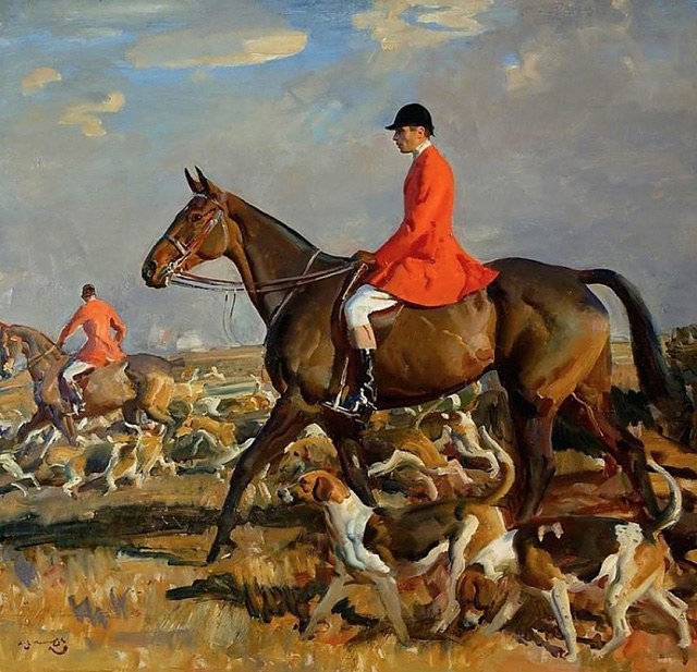 unknown artist custom horse hunting painting