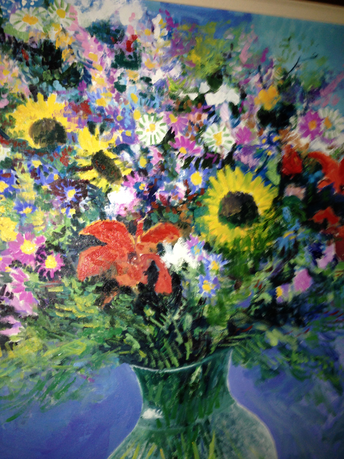 unknown artist flowers oil painting