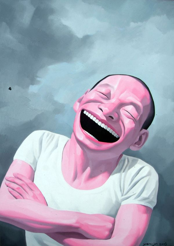 yue minjun laugh men painting