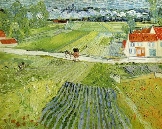 vincent van gogh landscape with carriage and train paintings